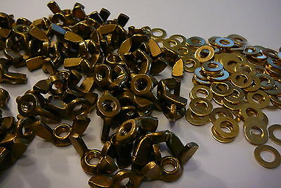 M6 Solid Brass Wing Nuts With Free M6 Brass Washers 5 / 10 Or 20 Packs
