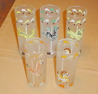 Lot of 5 Libbey Merry Go Round Circus Animal Glasses Coolers Mid Century 1950's