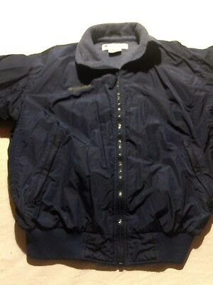 Men's Columbia Fleece lined Zip-Up Navy Blue Jacket Size M