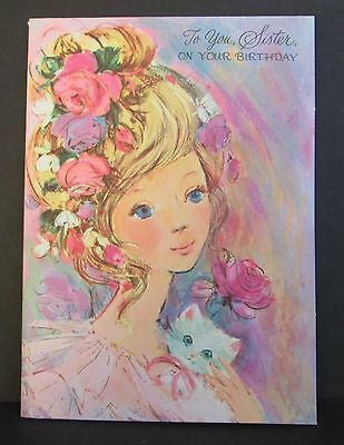 Vtg Unused Birthday Greeting Card Pretty Young Woman, Flowers In Hair Cat 1960's