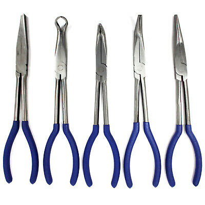"New 5PC 11"" NEEDLE NOSE PLIERS SET LONG REACH PLIERS TOOL"