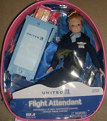 """Flight Attendant Doll United Continental Merger Airlines 11"""" Blond w/ Backpack"""
