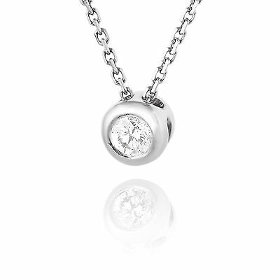 Solitaire Round Diamond Pendant Necklace 14K White Gold Bezel Set Women Jewelry
