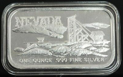 "Nevada "" Silver Towne "" 1oz .999 Fine Silver Art Bar"