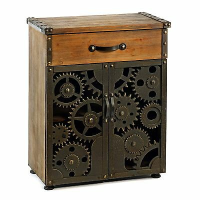 Vintage Rustic Wooden Metal Cog Effect Cabinet With Drawer Storage Unit New