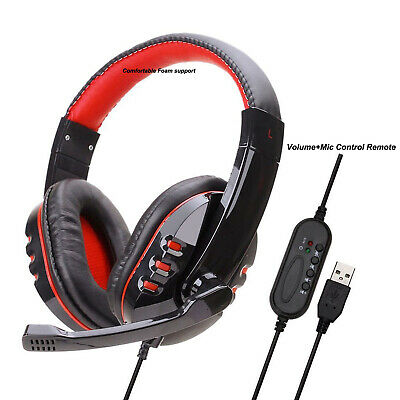 Deluxe Headset Headphone With Microphone +Volume Control For Ps3 Pc Laptop