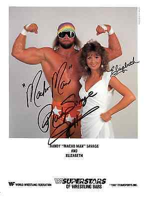 Macho Man Randy Savage & Elizabeth PP Signed Autograph Hologram WWF Wrestling