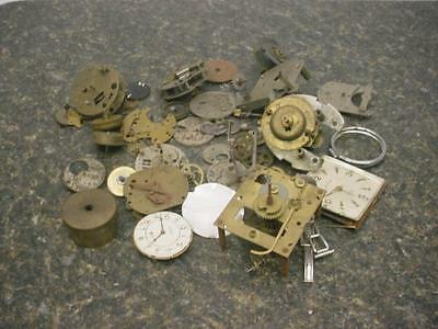 Large Lot of Brass Clock Movements Parts for Repair Steam Punk Altered Art E772