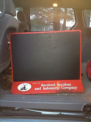 """1950's 28"""" Hartford Insurance Accident & Indemnity Co Chalk Board Sign"""