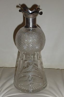 Antique Edinburgh Crystal Thistle Decanter Hamilton & Inches H&I Sterling Collar