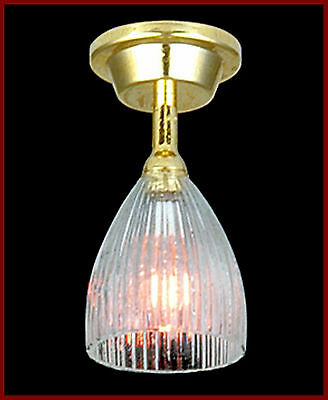 1:12 Working Dolls House Miniature Ceiling Light With A Reeded Shade 4031