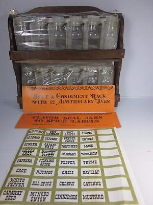 Vtg Spice & Condiment Rack 2-Tier Wooden W/12 Apothecary Jars & 40 Labels Taiwan