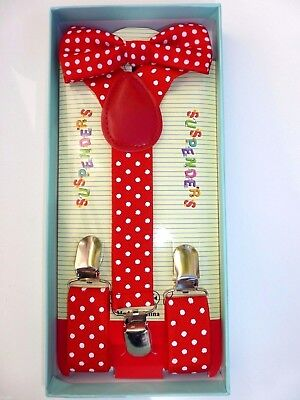 Baby Toddler Kids Child Red With White Polka Dot Suspenders Bow Tie Gift Box Set