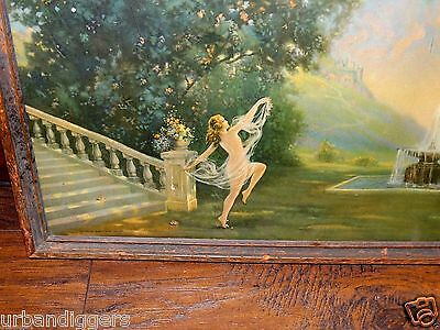 13576/ Vintage Framed 1926 R ATKINSON FOX PRINT of Nude Dancing Lady ~ art deco