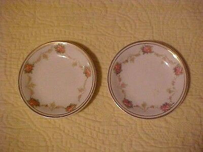 2 Vintage Butter Pats w/ Pink Roses