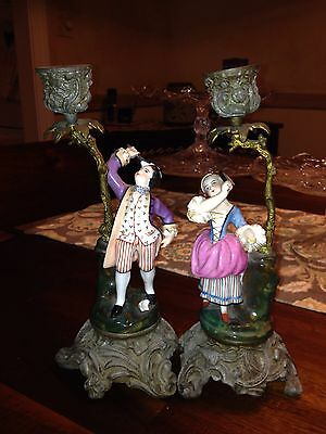 "Early 9 1/4"" Pr French Porcelain Figural Badmitton Players Candle Holders"