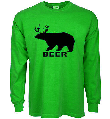 46383af57 funny st patricks day t-shirt BEER bear deer drinking green st paddys day  tee