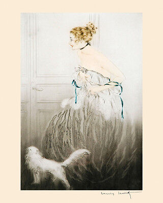 """Icart Persian Cat Art Deco Fashion Blond Lady by Door 16""""X20"""" Art Poster FREE SH"""