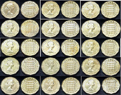 1953-1967 Brass 3d Threepence; all dates in UNC full lustre grade; free post!