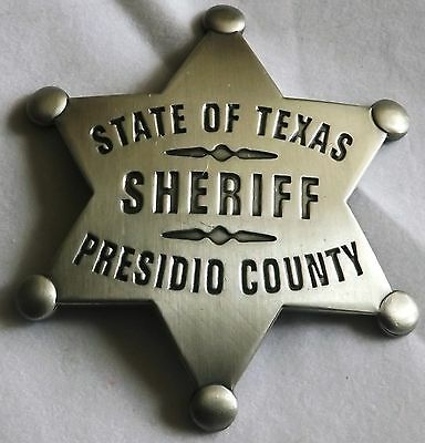 John Wayne Rio Bravo- Sheriff Presidio County,Texas Replica Badge Made USA