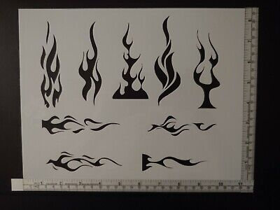 "Flames Tribal Flame Fire Pin Stripe 11"" x 8.5"" Custom Stencil FAST FREE SHIPPING"