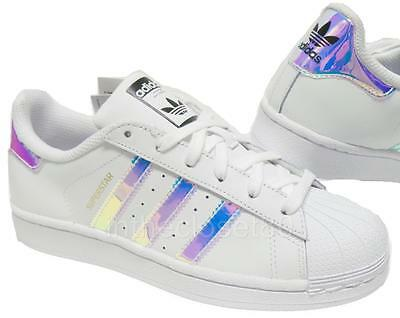Adidas Superstar Iridescent GS White Silver Juniors Womens Girls Trainers AQ6278