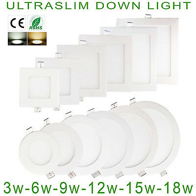 Led Recessed Lighting Panel Ceiling Down Light Ultraslim Round Square Cool White