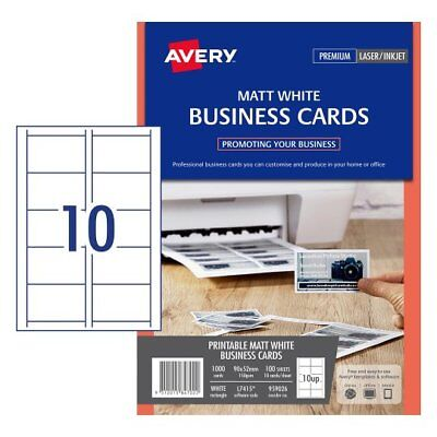 5 x MATT WHITE Avery Laser Inkjet Business Cards L7415 150gsm 1000Pk 959026