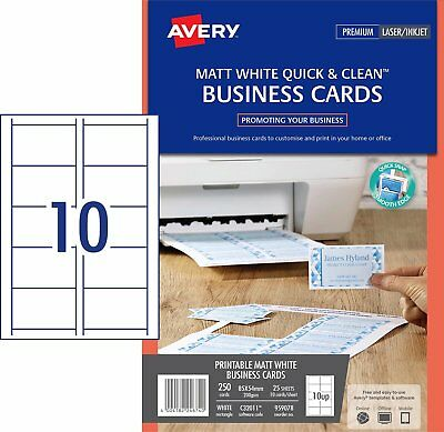 5 x MATT WHITE Avery Quick & Clean Laser and Inkjet Business Card 200gsm 959078^
