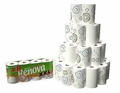 24 Rolls of Renova 2Ply Maxi Absorption White & Printed Kitchen Paper Towel Roll