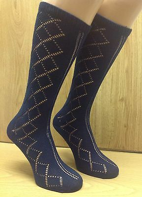 Girls Navy School Socks 6 pairs PELERINE  3/4 Length  Knee High **UK MADE**