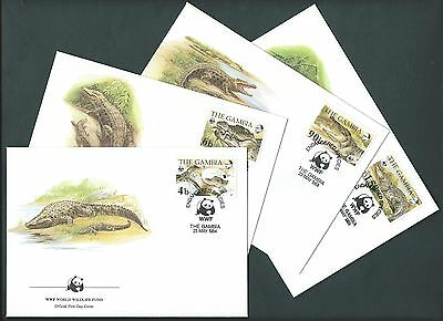 Gambia 1984. WWF OFFICIAL FDC. Endangered. The Nile Crocodile. Set of 4 Covers