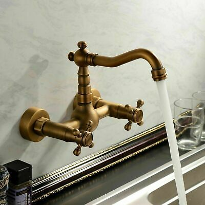 Antique Brass Bathroom Sink Faucet Basin Vessel Mixer Tap Wall-mount Daul Handle