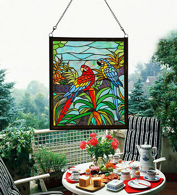 Makenier Vintage Tiffany Parrots Stained Art Glass Window Panel Wall Hanging