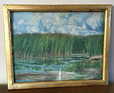 Antique 19th / Early 20th c. American Impressionist Oil Painting Marsh Landscape
