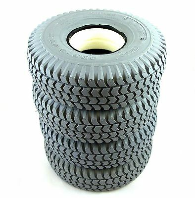 1 Set of 4 Solid Tyres (4 Block Tread) 260x85 3.00-4 Grey Mobility Scooter 300x4