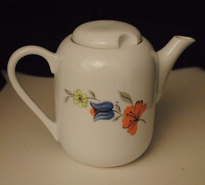 White Janlina Teapot with Flowers in Excellent Condition - Made in Poland