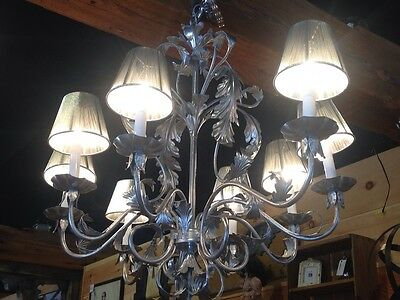 8 Light Metal & Silver Painted Chandelier w/Floral Leaf Accents & Silver Shades