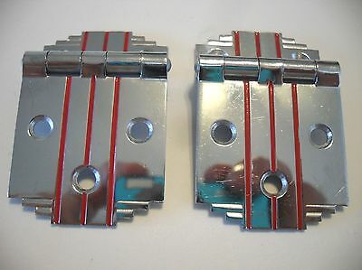 "Vintage Chrome Steel Cabinet Hinges w RED Lines & Stepped Corners 3/8"" Offset"