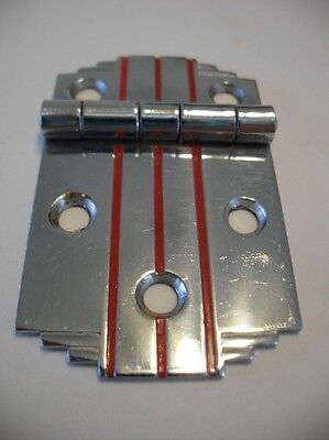Vintage Chrome Steel Cabinet Hinges RED Lines & Stepped Corners Flush Mount