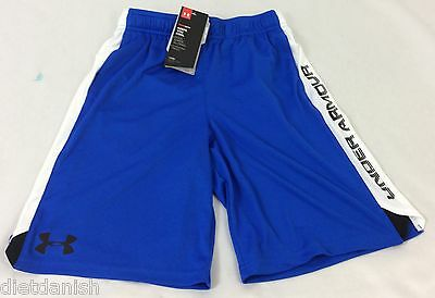 Under Armour BOY'S All Season Gear SHORTS Blue White YOUTH Size L