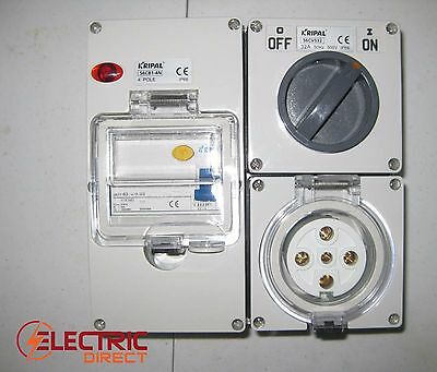 5 pin 32 Amp Switch Socket with RCD Combination Outlet 4 Pole Switchboard IP66