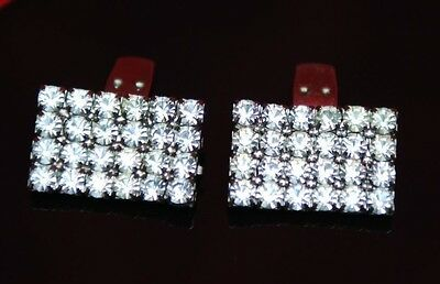 French Designer Vintage Clear Crystal Rhinestone Geo Square Cluster Shoe Clips