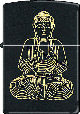"Traditional Budda Buddha ""The Enlightened One"" Black Matte Zippo Lighter New"