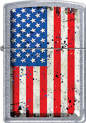 US American Flag  Patriotic Colors  ~ Battered Old Glory ~ Chrome Zippo Lighter