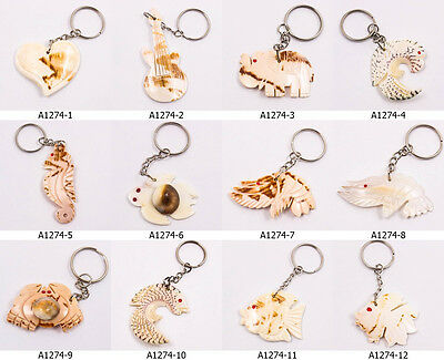 UPICK 12Styles Sea Shell Natural Real Thai Key Chain Ring Collectible Cute A1274