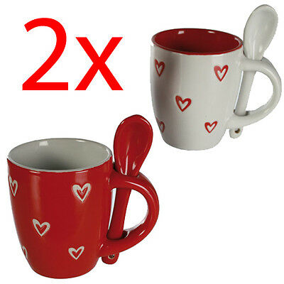 Set Of 2 Heart Coffee Tea Mugs With Spoon Latte Hot Chocolate Espresso Gift New