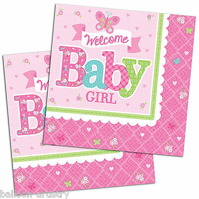16 Little Pink WELCOME Baby Girl Shower Party 33cm Paper Luncheon Napkins