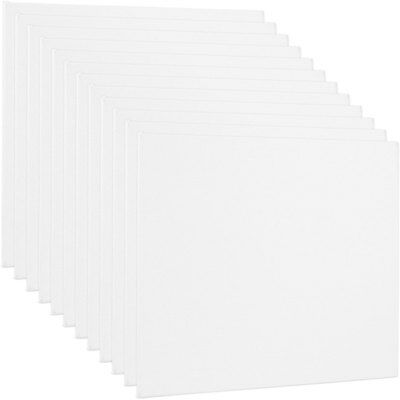 "Blank Cotton Canvas Panels 12""x12"" 12 PK Mounted Art Boards Paint Supplies Craft"