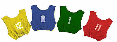 Champion Dozen Youth All Sport w/ Numbers 1-12 PINNIES Scrimmage Vests 4 Colors